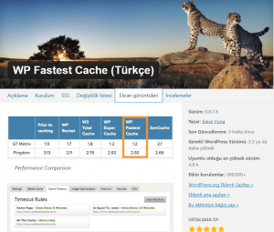 WP Fastest Cache En İyi WordPress Eklentileri