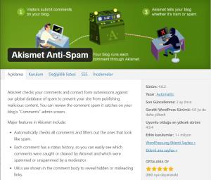 Akismet En İyi WordPress Eklentileri